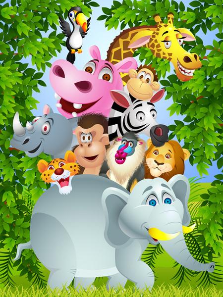 set of cartoon animal paradise vector