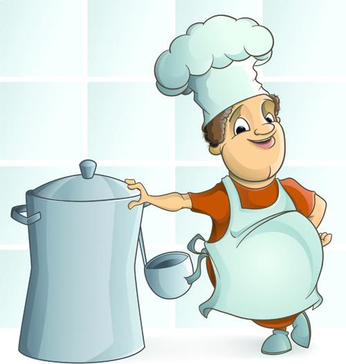 set of chef and menu design elements vector