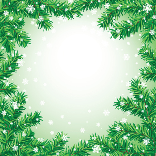 Set of christmas needles frames vector Free vector in Encapsulated ...