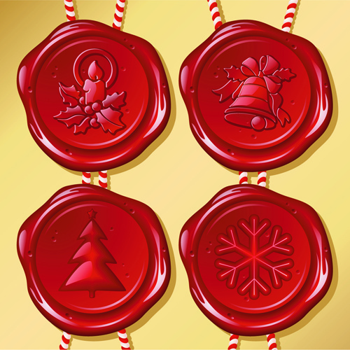set of christmas wax seal elements vector graphics