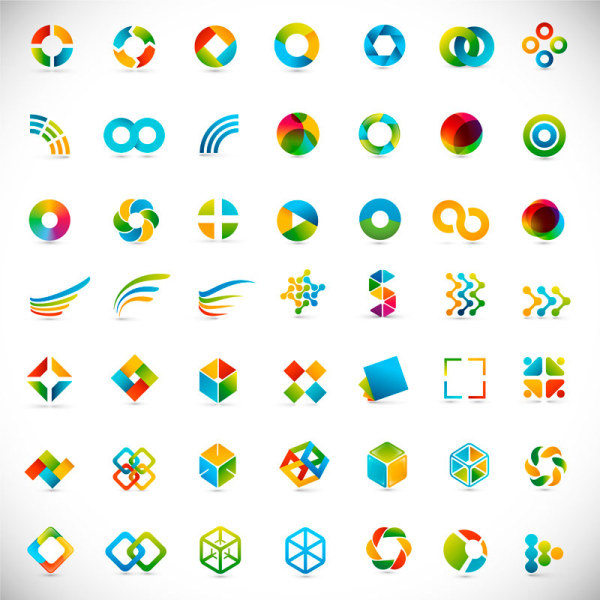 set of colored abstract logo design elements vector free vector in