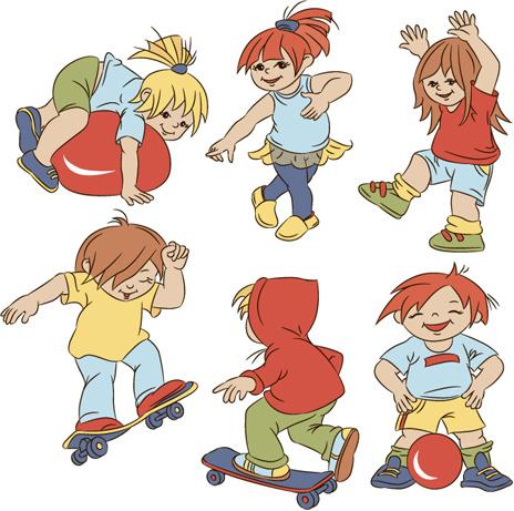 set of cute cartoon children vector
