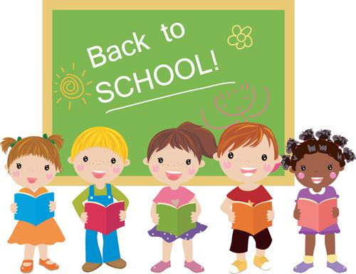 set of cute school children design vector