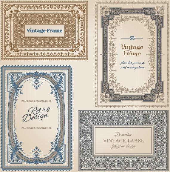 set of decorative vintage frame vector graphics