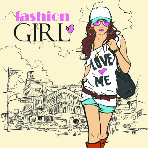 set of different fashion girl vector