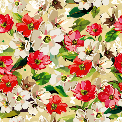 set of different flower pattern elements vector