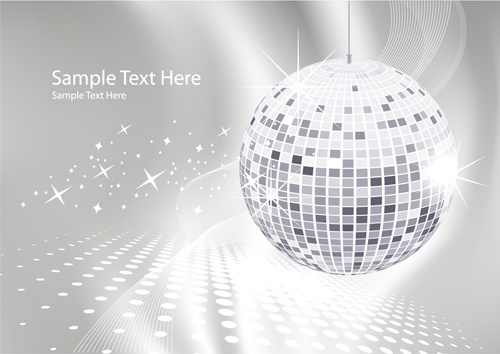 set of disco ball theme background vector