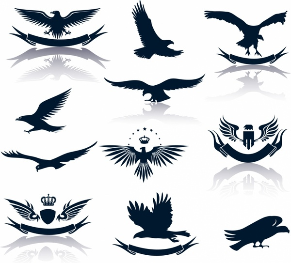 Set of eagles silhouettes