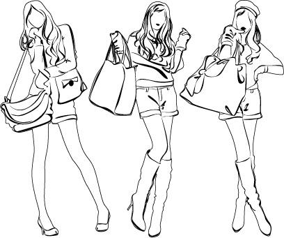 set of fashion girl pencil sketch vector