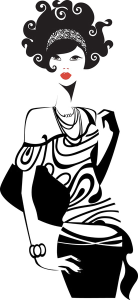 set of fashion girl vector graphic