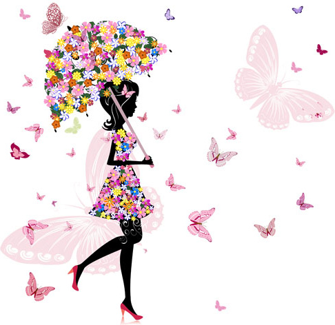 set of floral girls elements vector