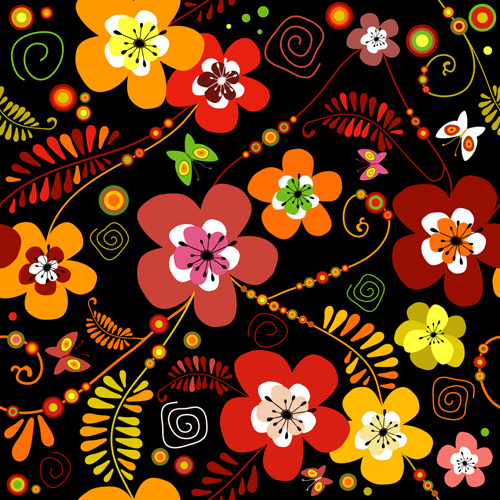 set of flower pattern vector art