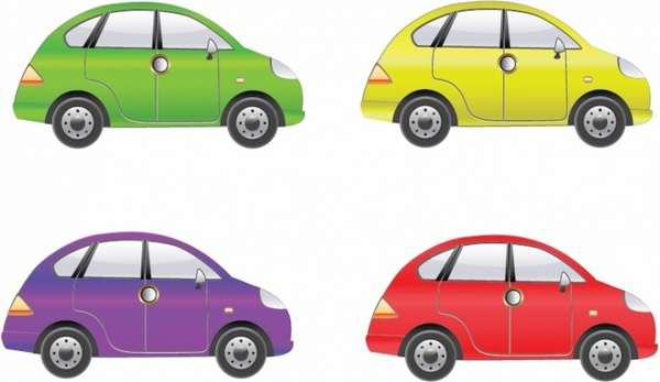 Set of Four Car Vector