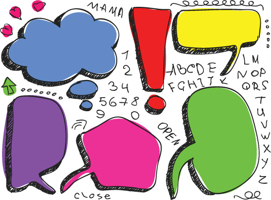 set of hand drawn speech bubbles vector