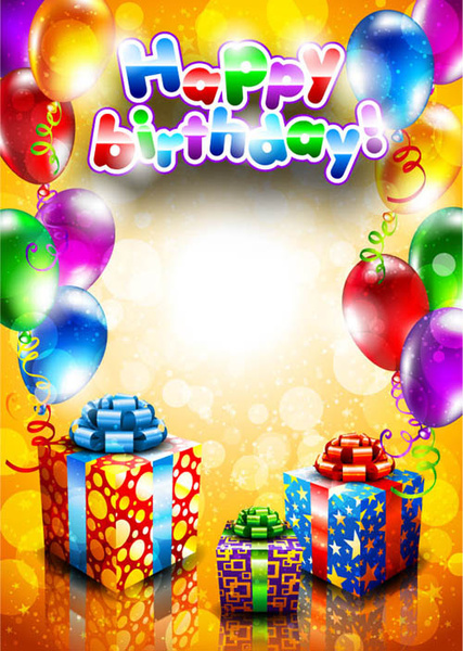 set of happy birthday postcards design elements vector free vector