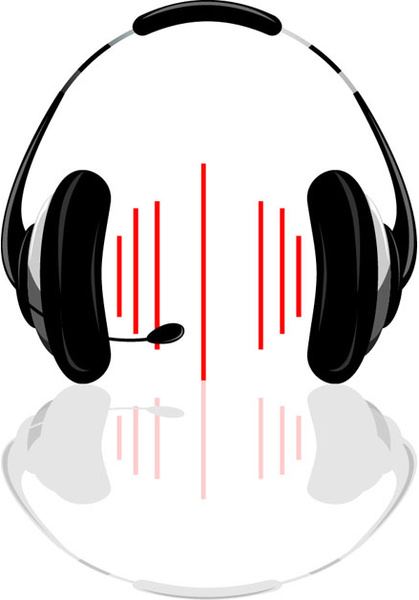 set of headphone elements vector