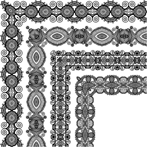 set of lace ribbons borders vector free vector in encapsulated