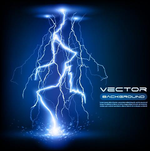 set of lightning flash elements background vector