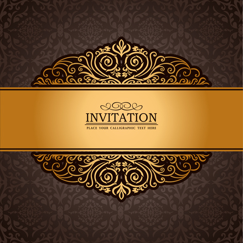 Set of luxury invitation background elements vector free vector in set of luxury invitation background elements vector stopboris Images