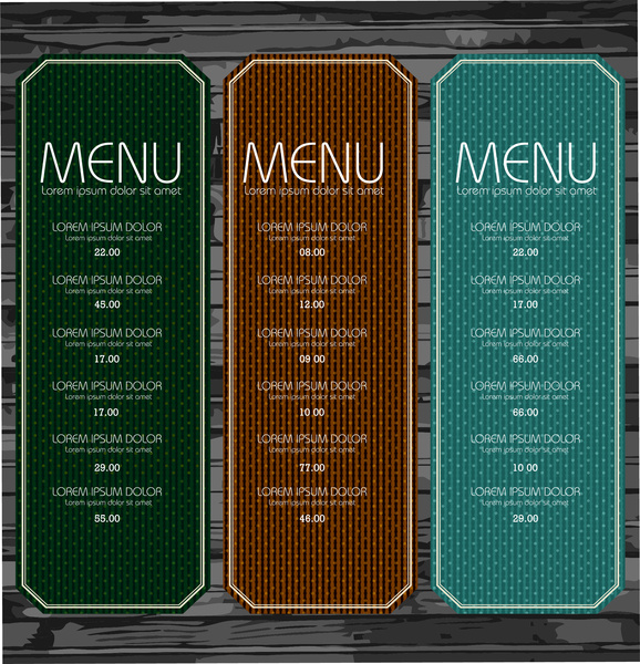set of menu with spots pattern