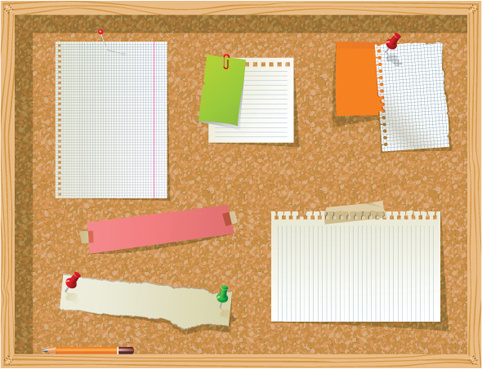 set of message board with message paper vector