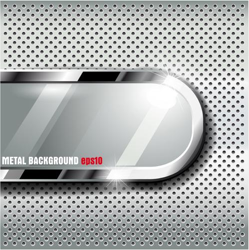 set of metal elements vector background art