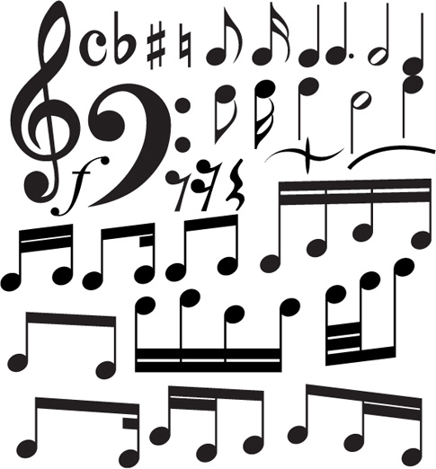 set of music elements vector graphic