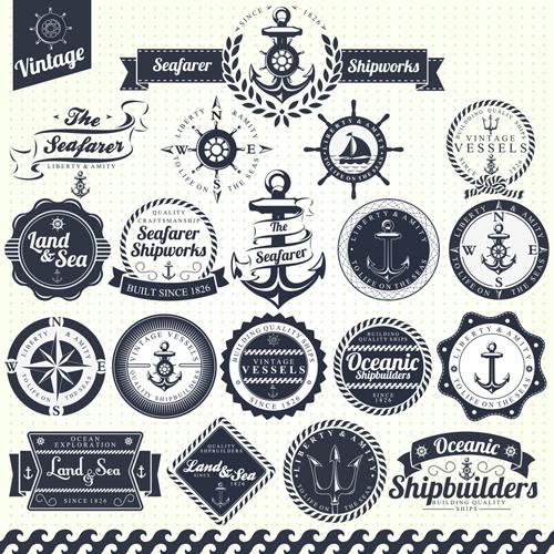 set of nautical labels vector