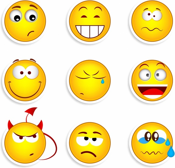 Set of nine smiles