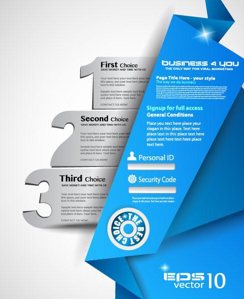 set of origami web design elements vector