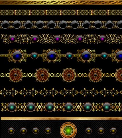 set of ornate calligraphy border pattern vector