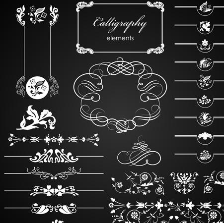 Set Of Ornate Calligraphy Border Pattern Vector Free 98438KB