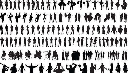 Set Of People Silhouettes Vector Free Vector In Adobe