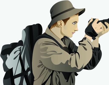 set of photographer design elements vector