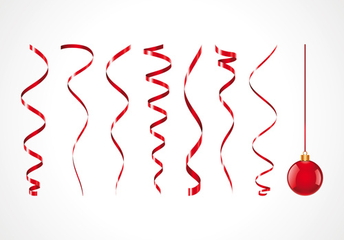 set of red christmas ribbons elements vector