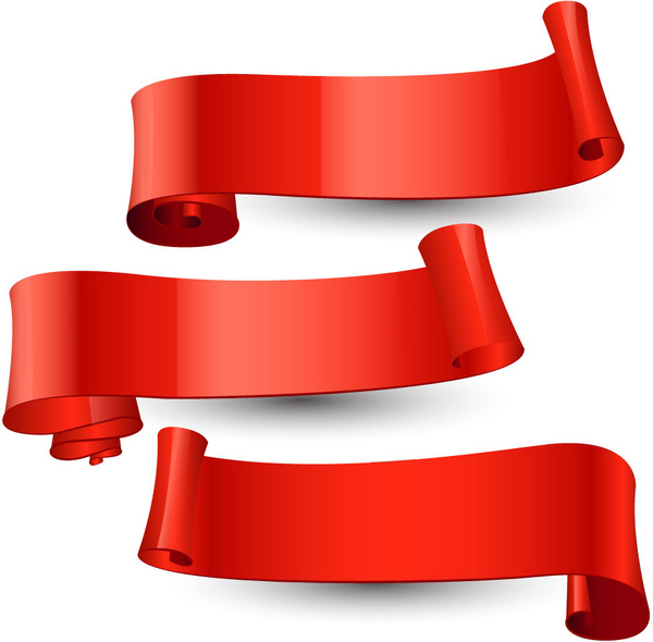 set of red curved ribbon scrolls
