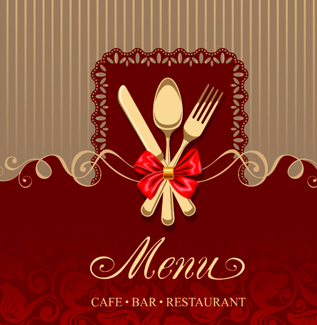 set of restaurant menu cover background vector