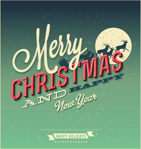 Retro Christmas.Set Of Retro Christmas And New Year Backgrounds Vector Free