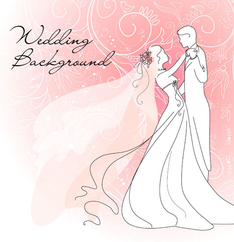 Set Of Wedding Vector Background