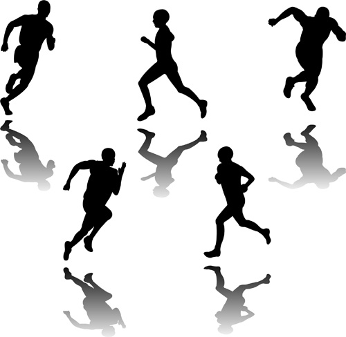 set of running elements people silhouette vector
