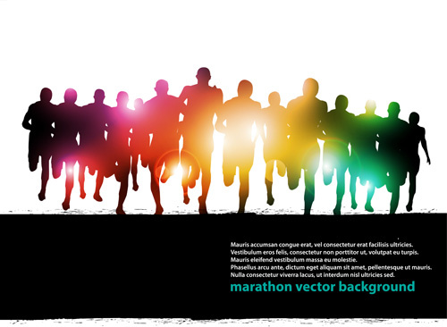 set of running people vector