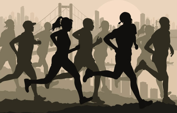 set of running silhouettes vector