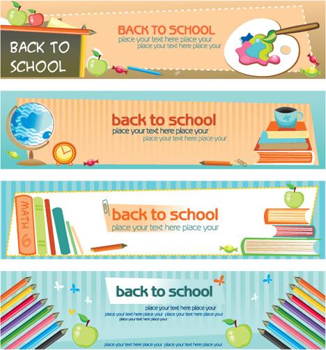 set of school elements banners vector