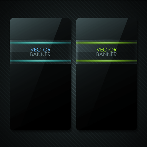set of shiny black banners vector