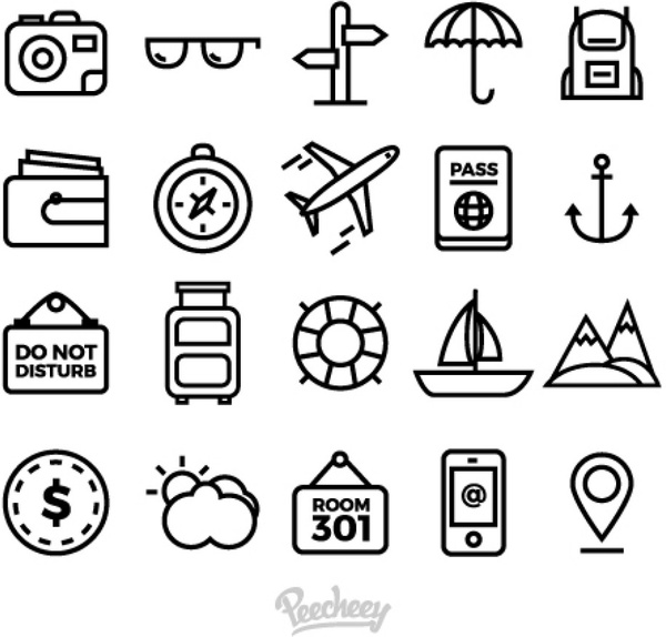 Set Of Simple Travel Icons Free Vector In Adobe