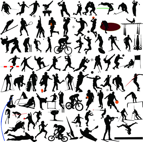 set of sports people silhouette vector