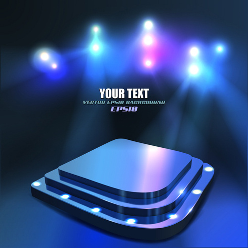 set of stage with spotlight vector background