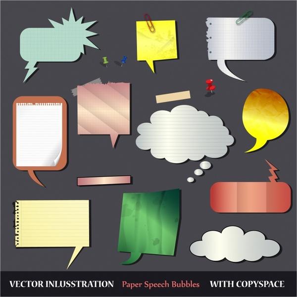 Set of textured paper speech bubbles