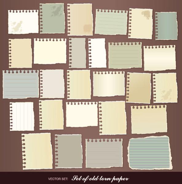 set of torn message paper vector