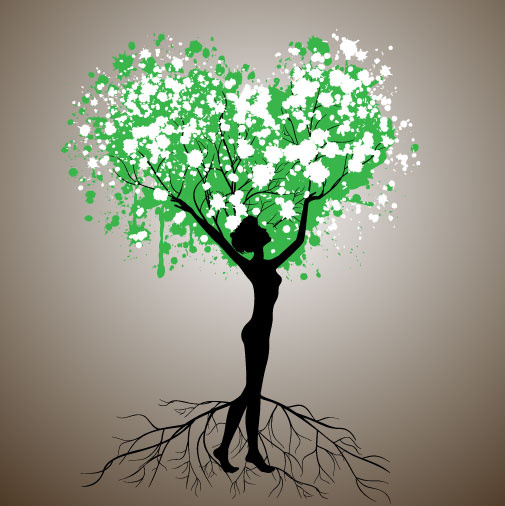 set of tree people silhouettes vector